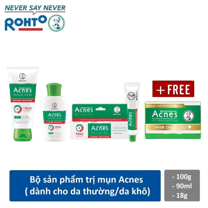 Bộ sản phẩm cho da mụn Rohto Acnes (da thường/khô) + Tặng 1 phim thấm dầu Acnes Oil Remover 50 tờ