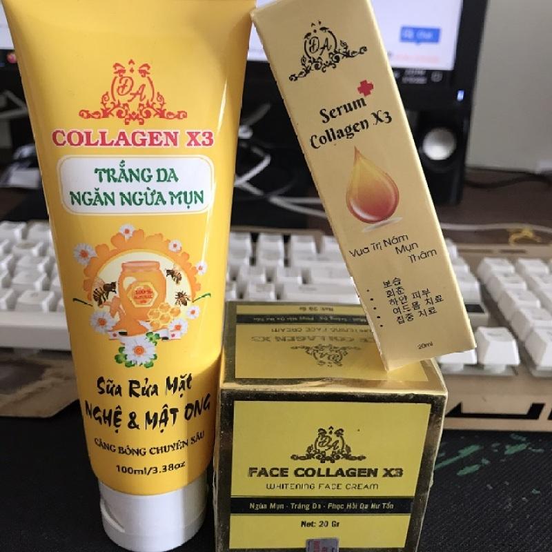 Bộ 3 dưỡng da và phục hồi da collagen x3 gồm: 1 hủ kem face, 1 sữa rửa mặt, 1 serum giá rẻ