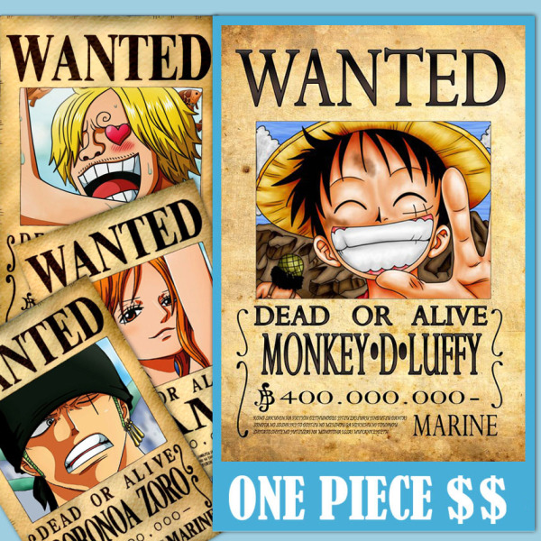 Bộ 10 Lệnh Truy Nã  Onepiece - Wandted Poster - Khổ A4
