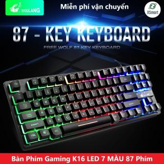 Bàn phím gaming máy tính Free Wolf K16 LED 87 phím giả cơ cao cấp chơi game trên pc máy tính laptop keyboard chơi mọi tựa game lol pubg đột kích XSmart thumbnail