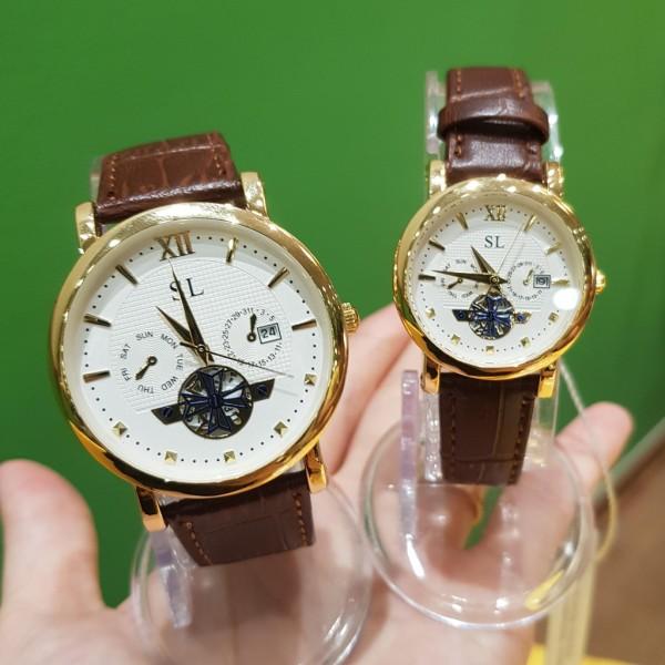 Đồng hồ cặp đôi nam nữ SL dây da viền vàng lộ máy chống nước giá rẻ