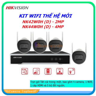 [NHÀ PHÂN PHỐI, BH 2 NĂM, FREESHIP 20K] Trọn bộ 4 Camera IP Wifi Hikvision NK42W0H(D) ngoài trời âm thanh, camera 2 râu, đầu ghi phát wifi xuyên tường 150m - bộ 4 camera wifi không dây thumbnail