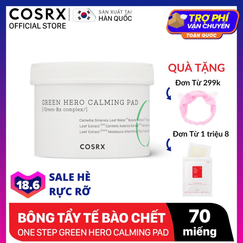 Bông tẩy tế bào chết hoá học dưỡng ẩm và dịu da COSRX One Step Green Hero Calming Pad 70 miếng nhập khẩu