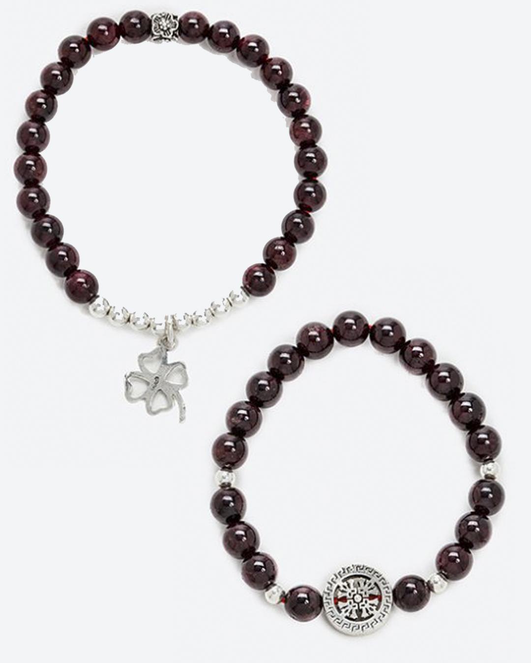 Vòng Đôi Đá Garnet Mix Charm Bạc Mệnh Hoả,Thổ 8mm (màu đỏ mận) - Ngọc Quý Gemstones