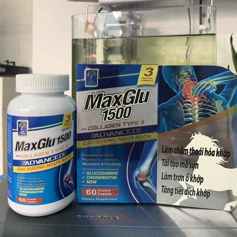 [Nhập NEWSELLERW502 giảm 50% tối đa 20K] Maxglu 1500 Giúp phục hồi tái tạo mô sụn khớp tăng tiết dịch lọ 60 viên