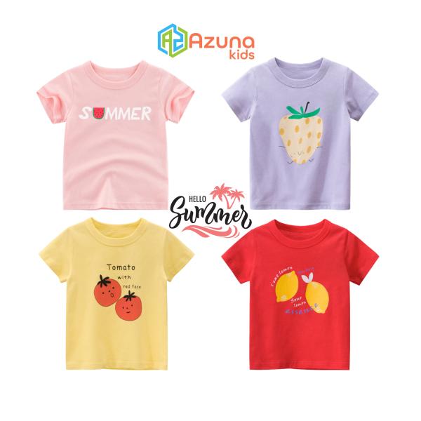 Giá bán Áo thun bé gái 27Home áo cộc cho bé in hình trái cây cute chất cotton hàng nhập khẩu