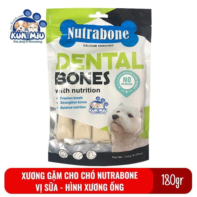 Xương cho chó vị sữa Nutrabone 180gr hình xương ống - Xương gặm sạch răng cho chó