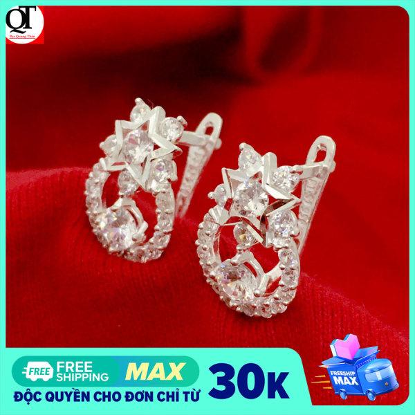 Bông tai nữ Bạc Quang Thản, khuyên tai bạc nữ kiểu khuyên vành đeo sát tai chất liệu bạc thật không xi mạ, gắn đá cobic cao cấp phong cách cá tính - QTBT62