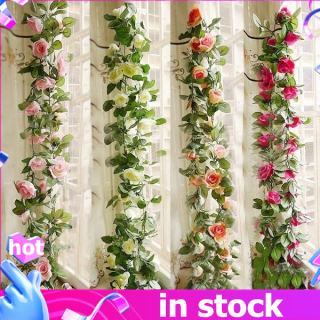2.4M Hoa Hồng Lụa Mô Phỏng Vòng Hoa Lá Cây Thường Xuân Bó Hoa Tiệc Cưới Trắng thumbnail