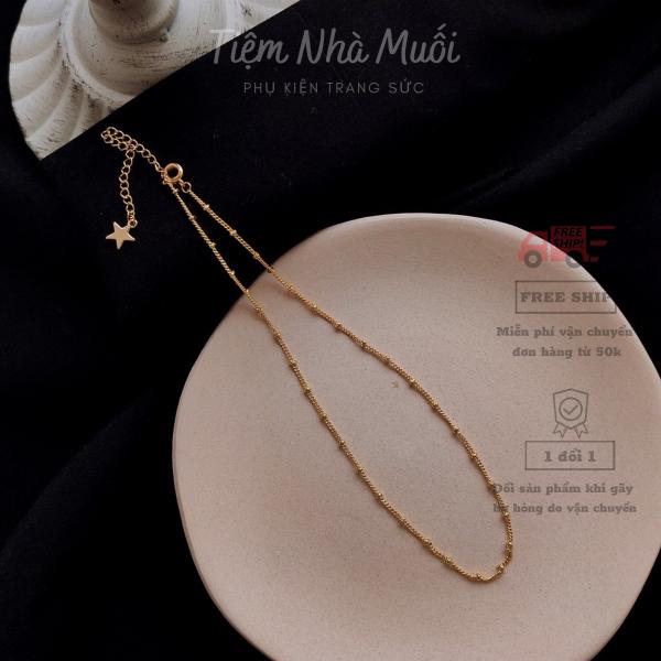 Dây chuyền vàng nữ sợi mảnh dây trơn nhẹ nhàng phong cách hàn quốc - vòng choker - dây chuyền kim loại