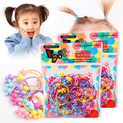 Giá bán Set 50 dây buộc tóc nhiều màu cho bé kèm túi đựng