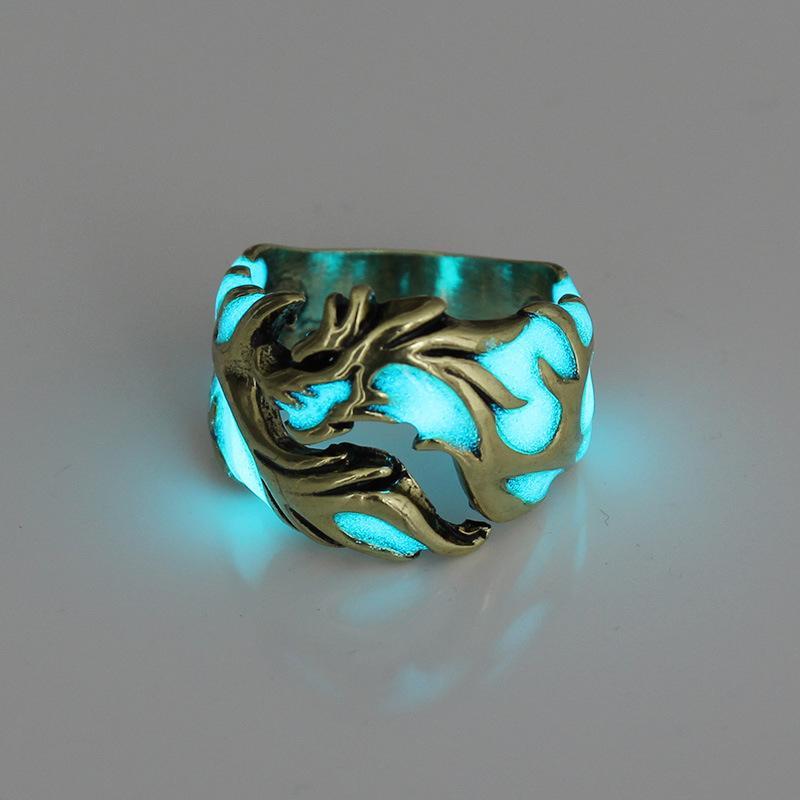 Nhẫn Titan Rồng Huyền Thoại Dạ Quang Phát Sáng Trong Đêm Âu Mỹ Đang Có Ưu Đãi