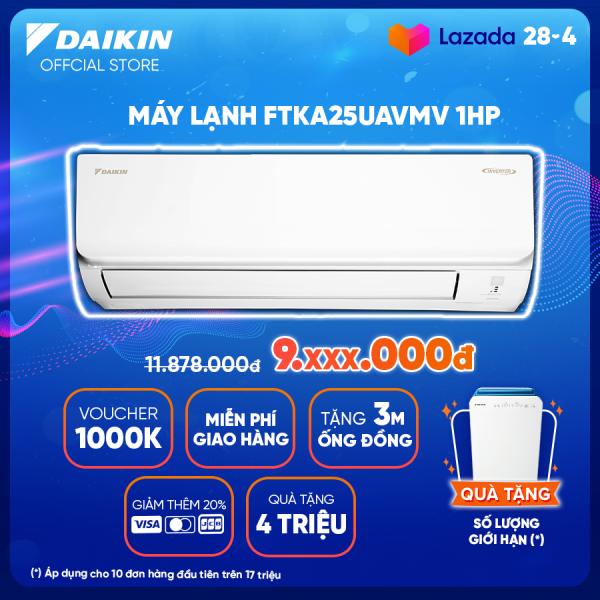 Bảng giá Máy Lạnh Daikin Inverter FTKA25UAVMV 1HP [Giảm 10% khi thanh toán qua thẻ] (9000BTU) - Tiết kiệm điện - Luồng gió Coanda - Độ bền cao - Chống Ăn mòn - Chống ẩm mốc - Làm lạnh nhanh - Hàng chính hãng