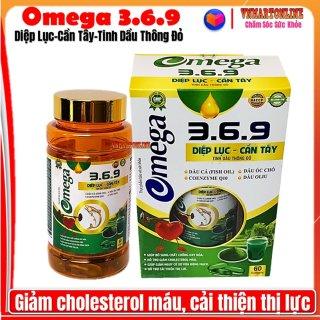 Viên Uống Omega 3-6-9 Diệp Lục - Cần Tây- Tinh Dầu Thông Đỏ- Giảm Cholesterol Máu,Bổ Não, Sáng Mắt, Khỏe TIm Mạch thumbnail
