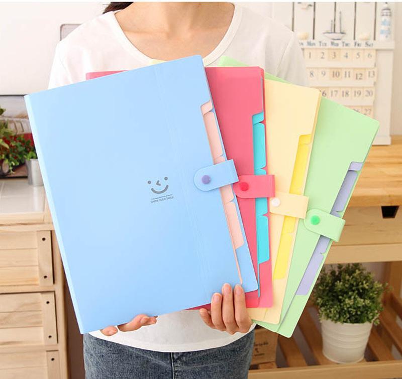 Mua Bìa đựng hồ sơ mặt cười nhiều ngăn (Xanh dương)