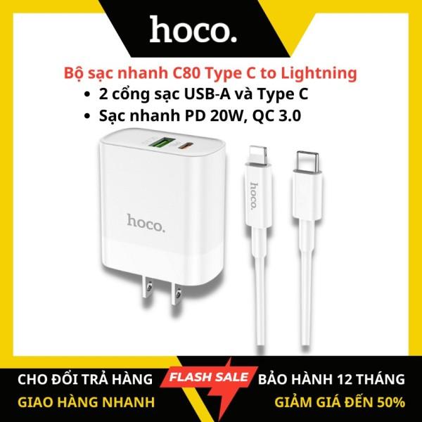 [Chính hãng HOCO] Bộ sạc nhanh iphone Hoco C80 Type C to Lightning sạc nhanh PD20W Q.C3.0A 2 cổng (USB-A và Type C) cáp Type C to Lightning dài 1m cho iPhone 11 pro, Iphone 12, ipad – KAMTrading