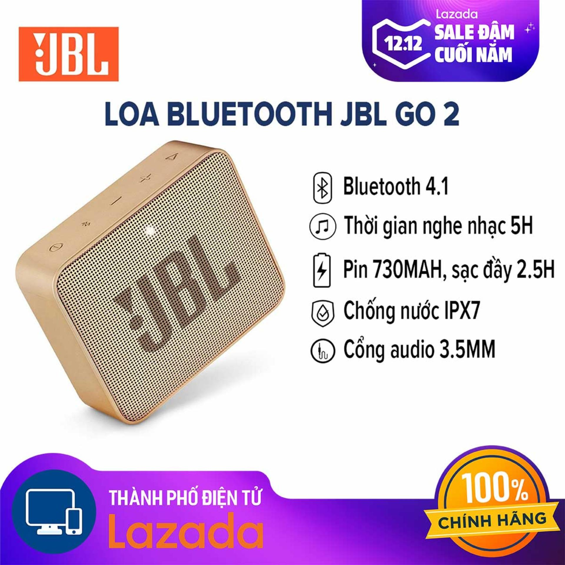 Giá Hot Duy Nhất tại Lazada Khi Mua Loa Di động Bluetooth JBL Go 2 - Chất âm Trong Trẻo - Tích Hợp Bluetooth 4.1  Cổng AUX 3.5mm Và Micro USB - Hàng Chính Hãng