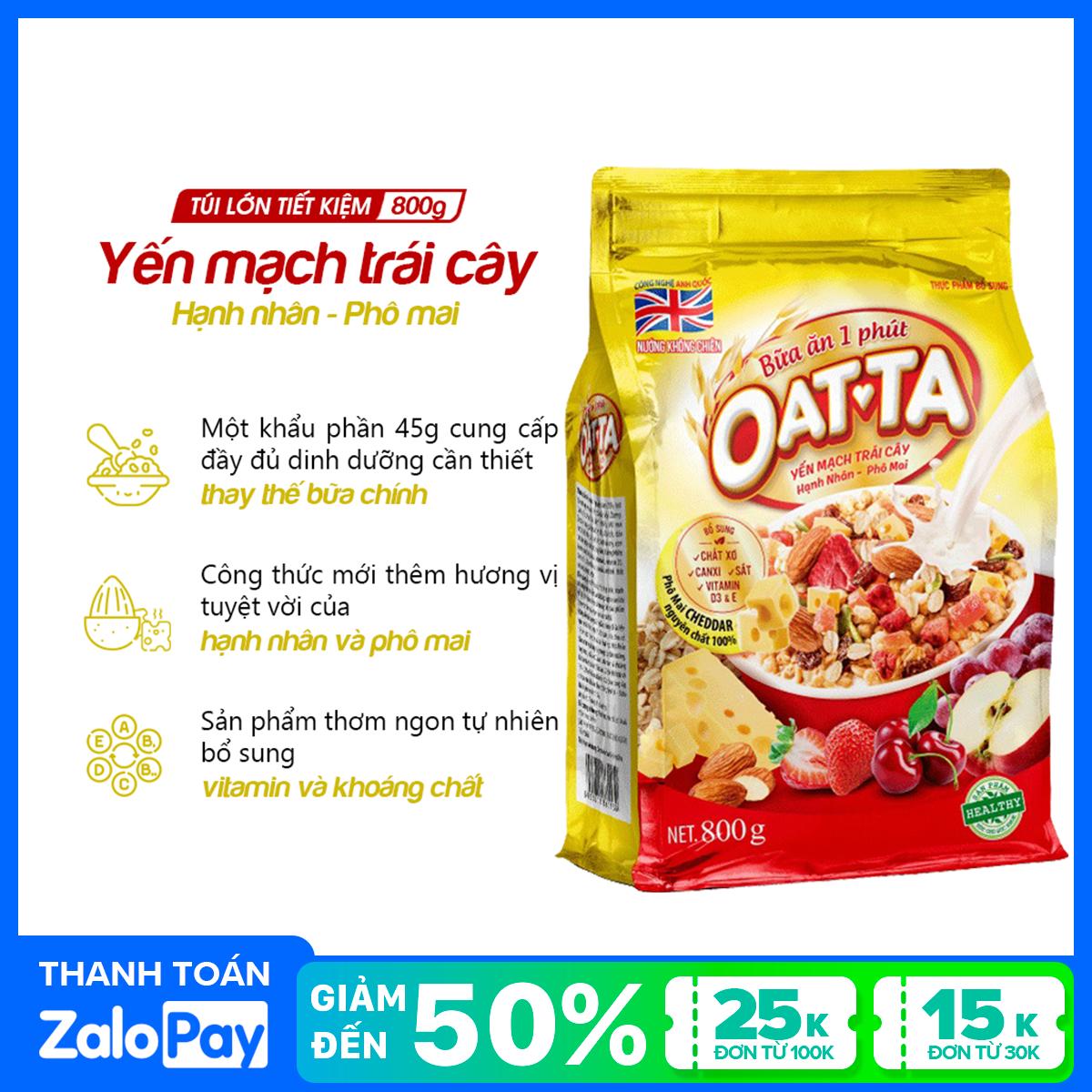 Yến mạch trái cây Hạnh nhân - Phô mai Oatta túi 800g (tặng kèm Yến mạch trái cây Oatta túi 300g)