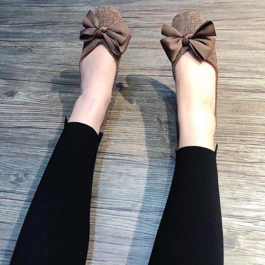 Giày bệt nữ, giày búp bê nữ vải màu nâu tây siêu đẹp giá rẻ