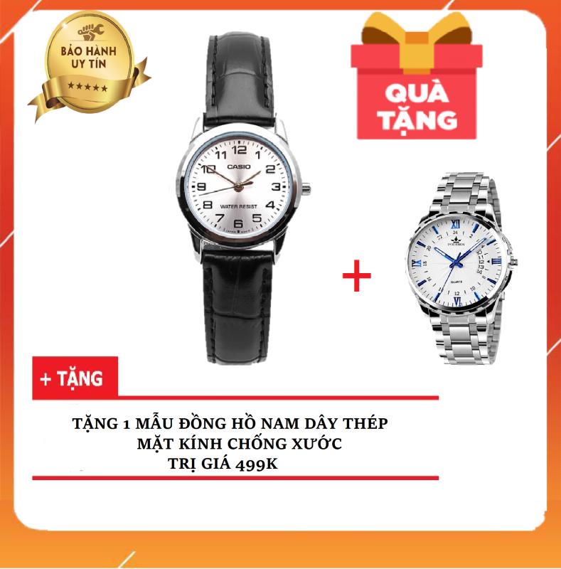 HOT- Đồng hồ nữ dây da CA$IO  LTP-V001L-7BUDF ( TẶNG KÈM 1 ĐỒNG HỒ NAM CHỐNG NƯỚC 499K ) Chính Hãng Anh Khuê - Có team chống giả  và thẻ bảo hành chính hãng