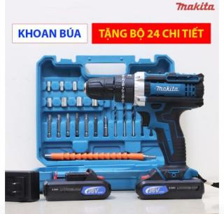 Máy khoan pin Makita 36V Có Búa, Máy bắt vít 36V hoạt động với công suất mạnh mẽ, được thiết kế với nguyên liệu hợp kim cao cấp - Máy khoan dùng pin FULL BOX 2 PIN Tặng Kèm 24 Phụ Kiện Đi Kèm ( BẢO HÀNH 12 THÁNG ) thumbnail