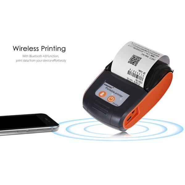 Máy in bill, máy in nhiệt Bluetooth PT-210 Màu Cam -  tặng 5 cuộn giấy in nhiệt