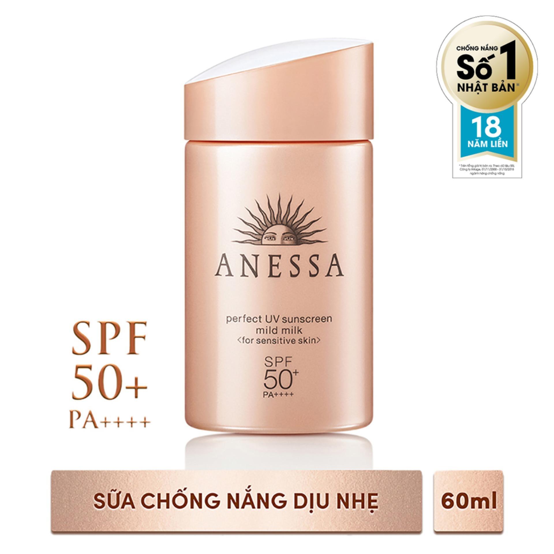 Siêu Tiết Kiệm Khi Mua Kem Chống Nắng Dịu Nhẹ Dạng Sữa Cho Da Nhạy Cảm Anessa Perfect UV Sunscreen Mild Milk 60ml