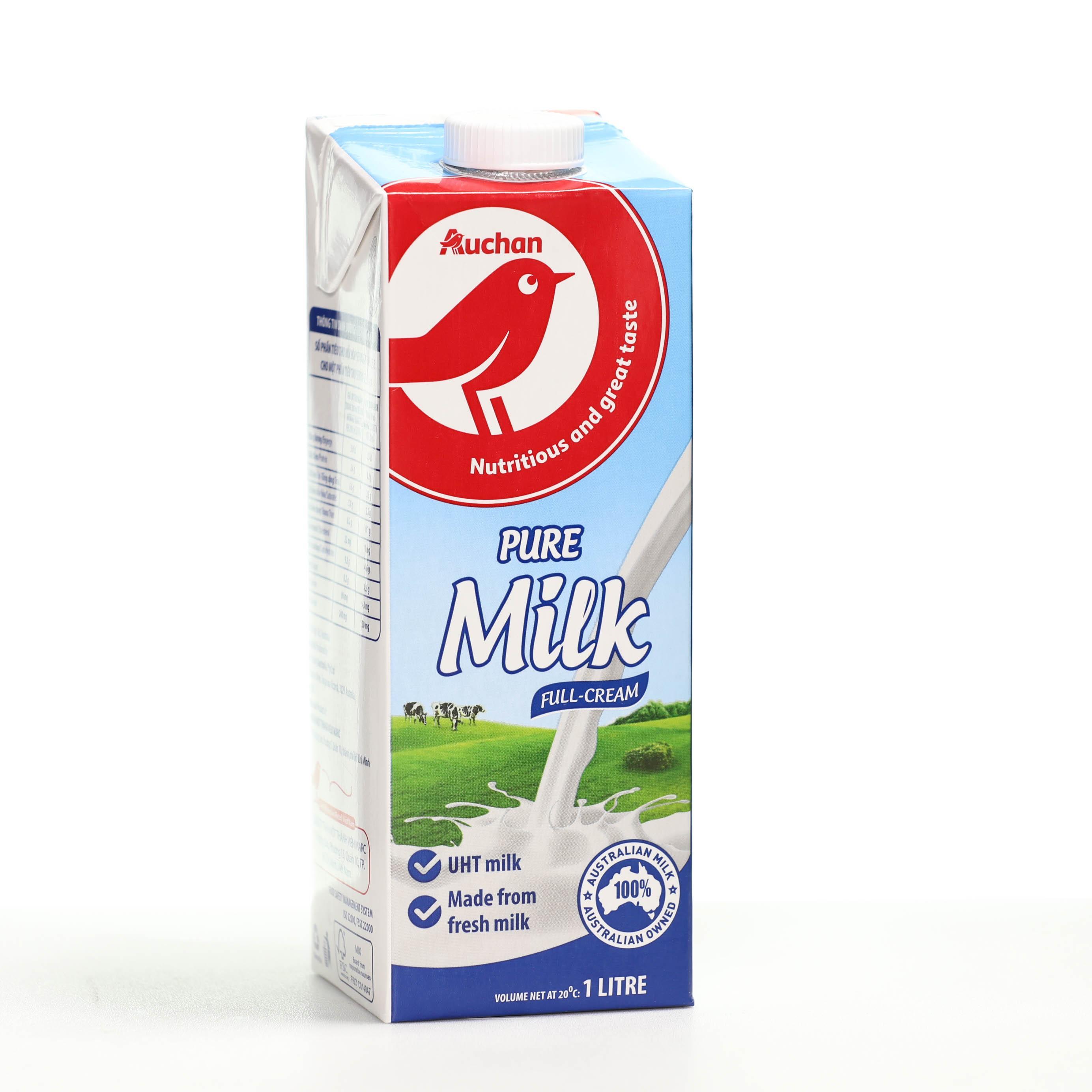Sữa tiệt trùng Auchan nguyên kem hộp 1 lít