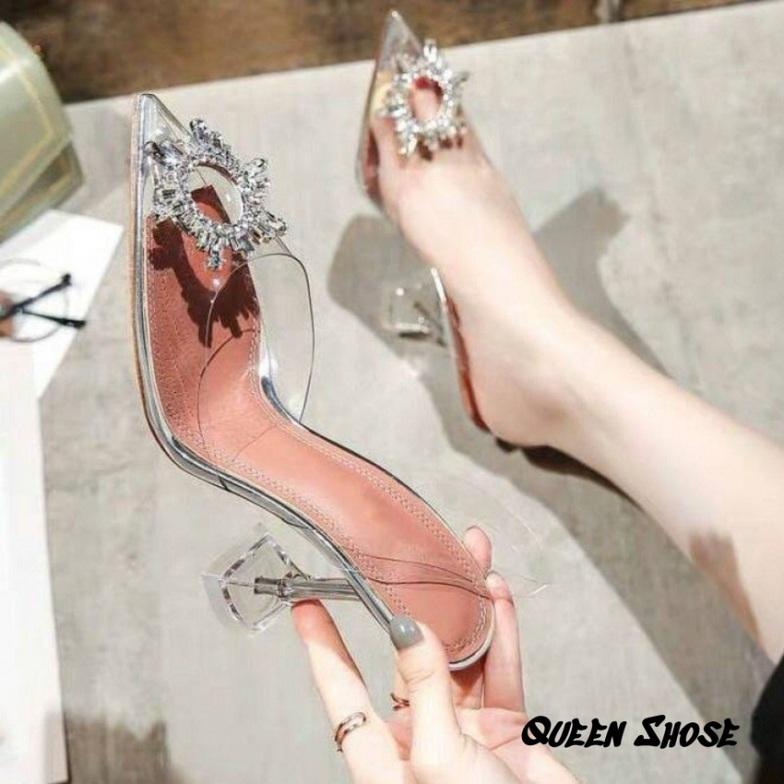 (Bảo hành 12 tháng) Giày cao gót nữ - sandal cao gót 7cm bít mũi trong suốt gót nhọn - Giày bít mũi Mika trong cao cấp đính hoa mặt trời giá rẻ