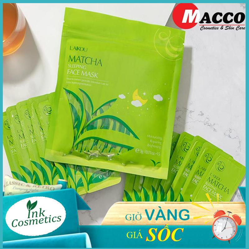 [ bịch 15 miếng ] Mặt Nạ Trà Xanh Matcha Mud Mask Laikou Ngừa mụn, Dưỡng ẩm sâu, Ngăn ngừa lão hóa da và nám tàn nhang. giá rẻ