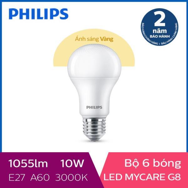 Bộ 6 Bóng đèn Philips LED MyCare 10W 3000K E27 A60 (Ánh sáng vàng) - Dự kiến giao 24/6