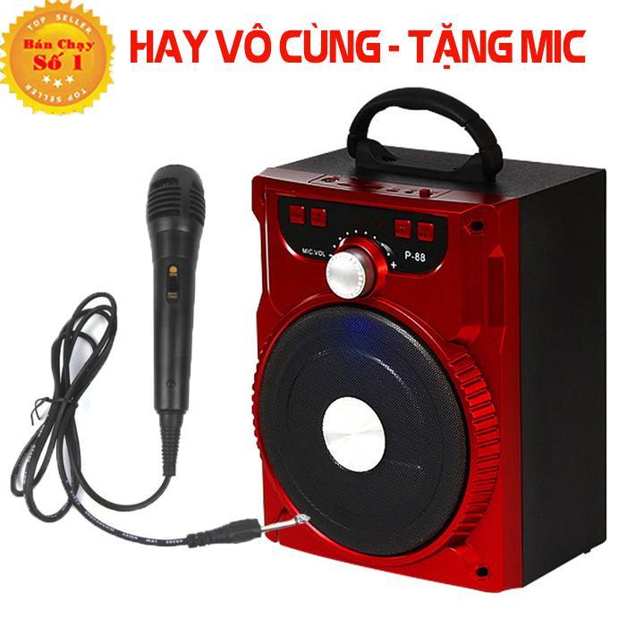 Loa Kẹo Kéo Có Mic Hát Karaoke Nghe Nhạc Bluetooth, cắm thẻ nhớ, nghe đài FM Siêu Hay - Tặng kèm Mic