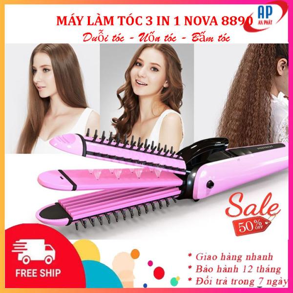 Máy uốn duỗi bấm tóc đa năng 3 in 1 Nova 8890 công nghệ Nano không hại tóc, máy ép thẳng, dập xù máy tạo kiểu tóc giá rẻ - Bảo hành 6 tháng