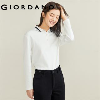 GIORDANO Women Polo Shirts Long Sleeves Double Seams Casual Polo Shirts Contrast Classic Collar Cotton Polo Shirts 05311787 thumbnail