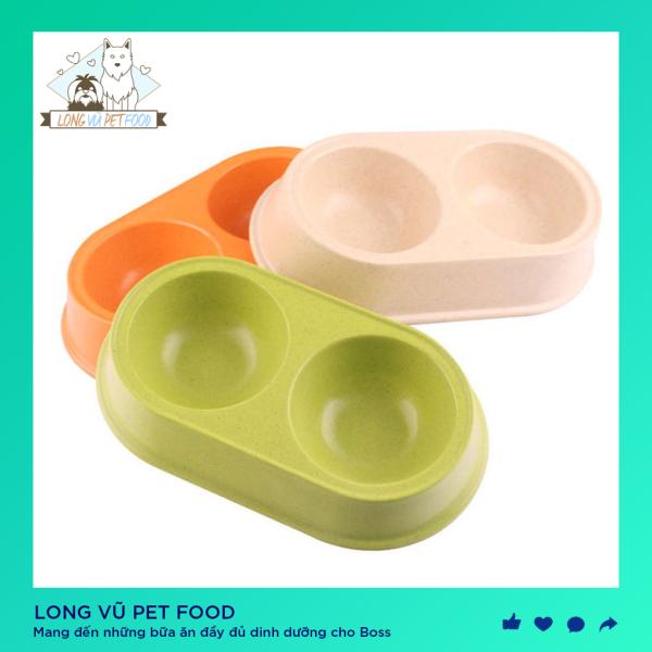 Bát ăn đôi cho chó mèo - Long Vũ Pet Food -Bát ăn cho chó mèo