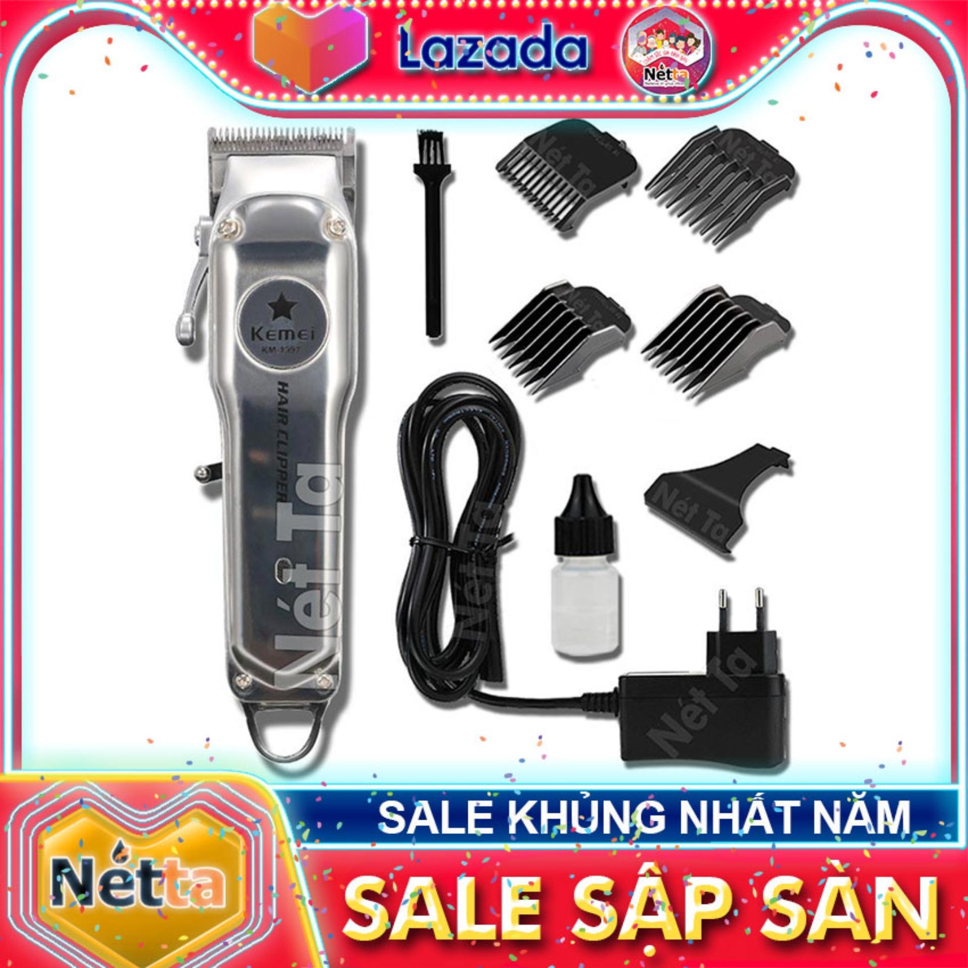 Tông đơ cắt tóc không dây chuyên nghiệp chất liệu hợp kim nhôm hàng không cao cấp Kemei KM-1997 có thể cắm điện sử dụng trực tiếp pin lithium 2000mAh chất lượng bảo hành Nét Ta tong do cat toc khong day 1997 cao cấp