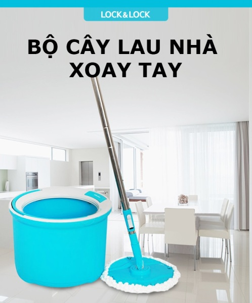 ETM494 - BỘ LAU NHÀ XOAY TAY CORNER LOCK&LOCK 2 BÔNG LAU – HÀNG CHÍNH HÃNG