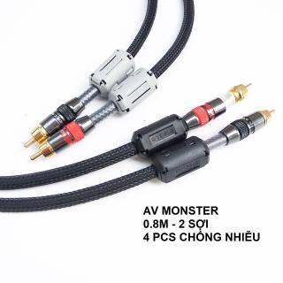 Dây AV Monster chống nhiễu, Dây bọc giáp kèm 4 cục nhiễu cho âm thanh sạch, sáng kết nối âm thanh hoàn hảo thumbnail