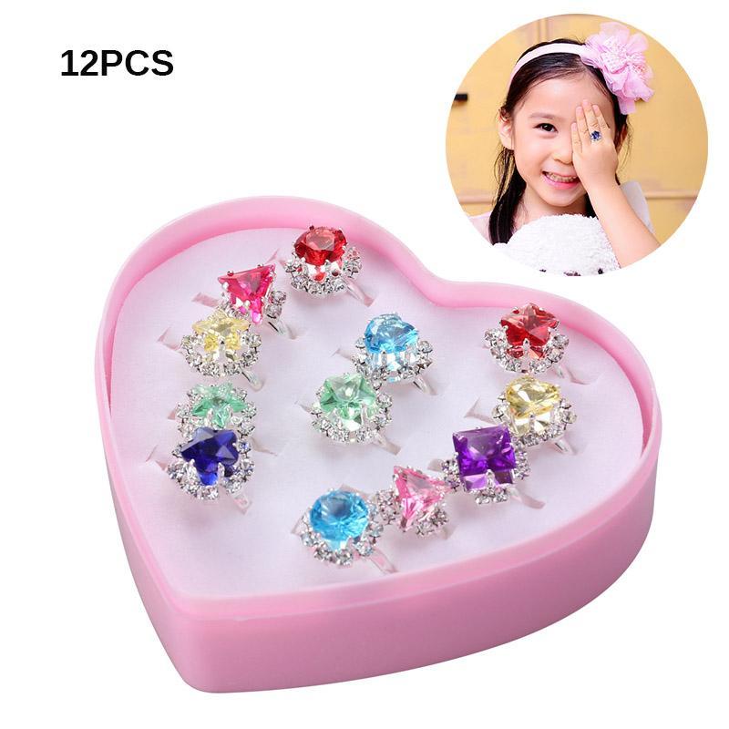 Giá bán 12 Con Nhẫn Đẹp Nhiều Màu Sắc Diamante Bộ Nhẫn Tặng Kèm Hộp Hình Trái Tim Cho Bé Gái Cho Trẻ Em