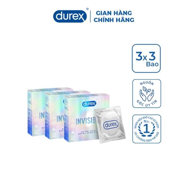 (Combo giá sốc) Bộ 3 Hộp Bao Cao Su Durex Invisible 3 bao/hộp