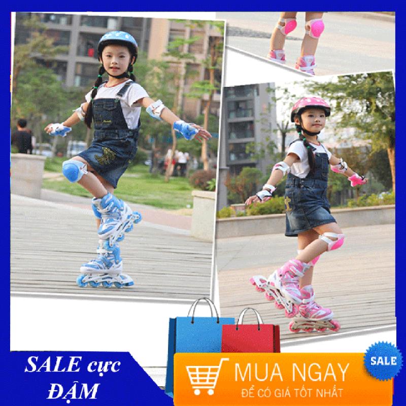 Phân phối [TẶNG KÈM đồ bảo hộ tay chân + mũ - đủ size cho bé gái từ 3-12 tuổi] Giầy trượt patin cao cấp tặng kèm bộ bảo vệ chân tay và mũ bảo hiểm, thuộc bộ sp Giày trượt patin trẻ em, Giày patin trẻ em, Giá giày trượt patin
