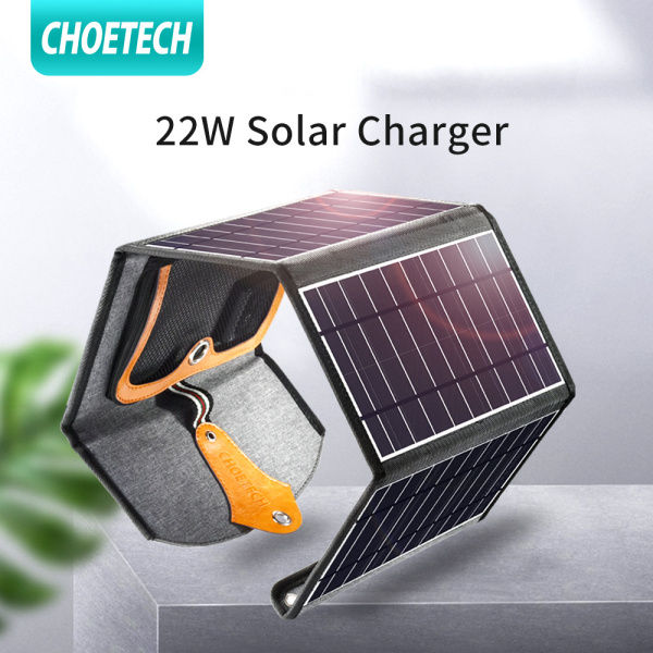 CHOETECH Solar Charger, 22W Waterproof Portable Dual USB Outdoor Solar Panel Charger with 4 Foldable Solar Panel for Smartphone Tablet Camera Powerbank and Camping Travel