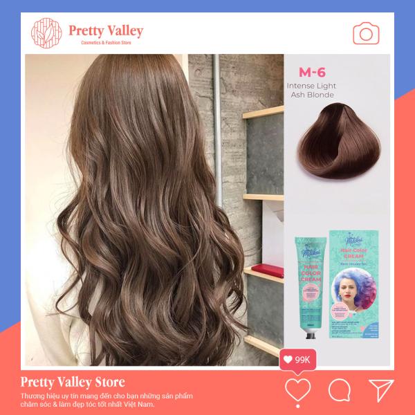 Kem nhuộm tóc cao cấp màu nâu tro Molokai 60ml [ TẶNG KÈM GĂNG TAY + CHAI OXY TRỢ DƯỠNG TÓC ] giá rẻ