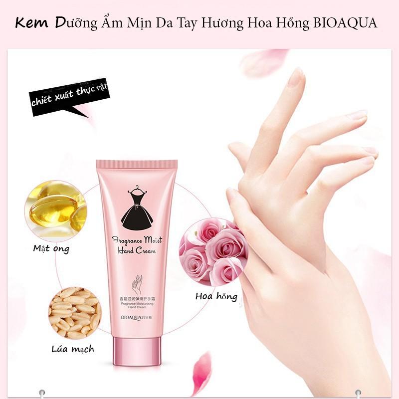 Kem dưỡng ẩm da tay, móng, chống nhăn hương hoa hồng BIOAQUA, kem dưỡng da tay nội địa Trung GM-KDDT