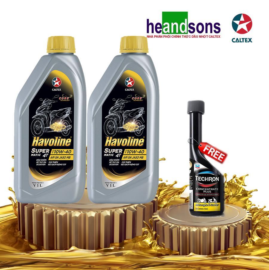 Combo 2 chai dầu nhớt Caltex Havoline SuperMatic 4T SEA 10W40 - 1L TẶNG DUNG MÔI PHA XĂNG cho xe tay ga Nhật Bản