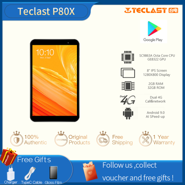 【Factory Delivery】Teclast P80X 8inch 2GB RAM 32GB ROM 4GTablet Android 9.0 1280 x 800 IPS SC9863A SOC Octa Core 1.6GHz Dual Cameras Tablet