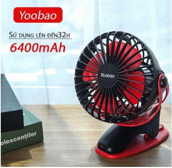 Quạt sạc tích điện yoobao kẹp xoay 360 độ F04 6400mah [ Dùng liên tục 32 tiếng ]