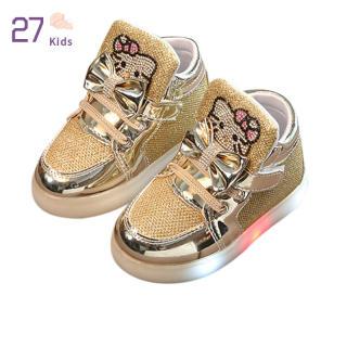 27 Trẻ Em Bé Gái Đế Đèn LED Chống Trượt Thông Thường Với Giày Thời Trang Mềm Mại Thoáng Khí Phối Ren Dạ Quang