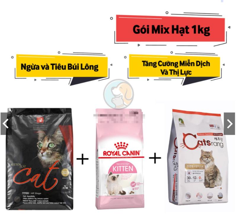 [Hạt cho Mèo] Gói Mix CATSRANG CATSEYE CANIN (Túi 1kg) Tiêu Búi Lông - Tăng Cường Hệ Miễn Dịch