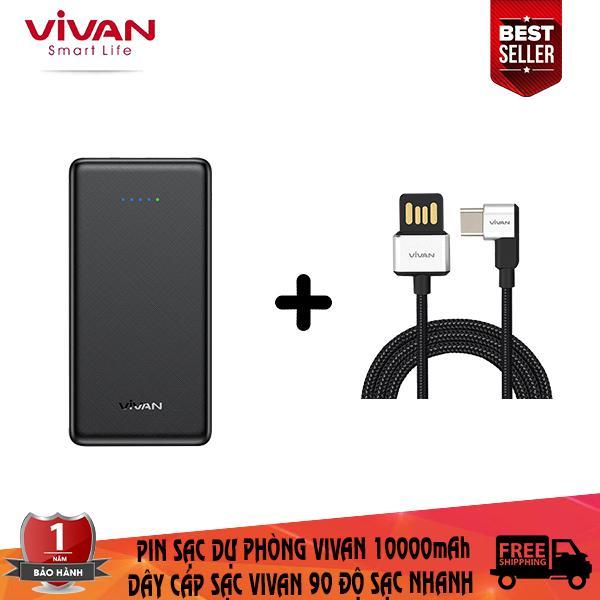 Giá Combo sạc dự phòng vivan 10000mAh + dây cáp sạc  Type-C vivan tích hợp sạc nhanh thiết kế chữ L 90 độ chuyên dụng chơi game ( bảo hành 1 đổi 1 ) - CB6